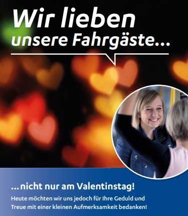 NVB begrüßt ihre Rendsburger Fahrgäste am Valentinstag mit einer Überraschung